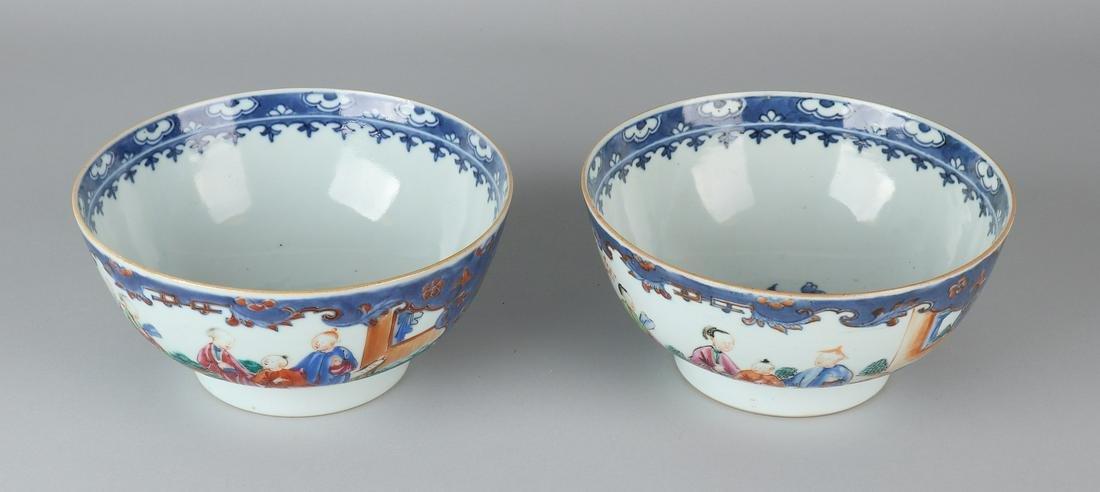 Two large 18th century Chinese porcelain Mandarin bowls