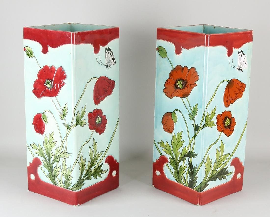 Two large antique German Jugendstil ceramic vases.