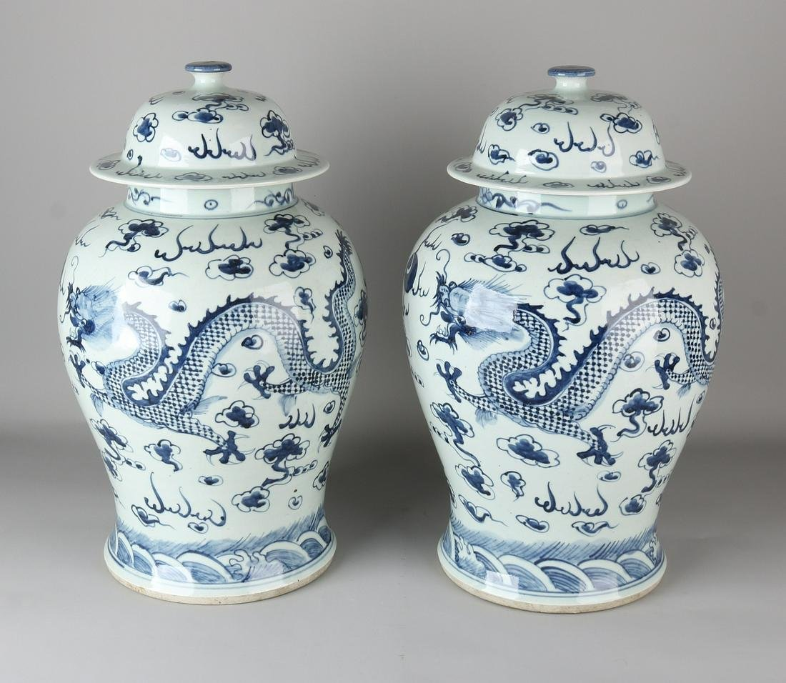 Two large old / antique Chinese porcelain lid pots with