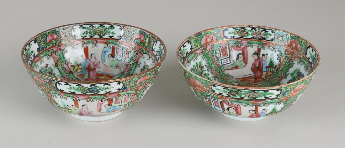 Two 19th century Chinese porcelain Cantonese bowls with