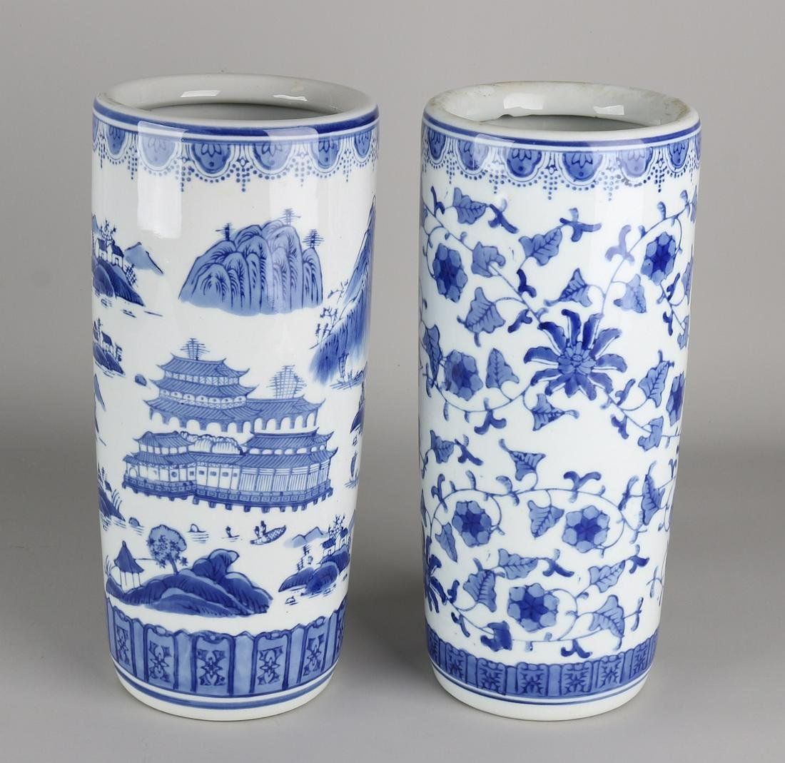 Two old Chinese porcelain brush pots / roll vases with