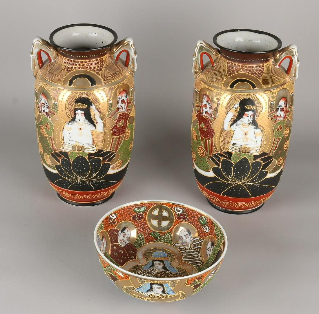 Three times antique Japanese Satsuma porcelain. Two