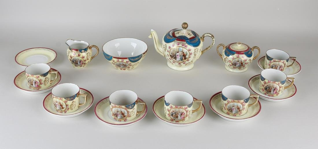Antique Viennese-style porcelain dinnerware with