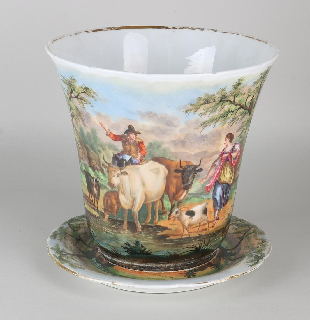Large 19th century hand-painted French porcelain