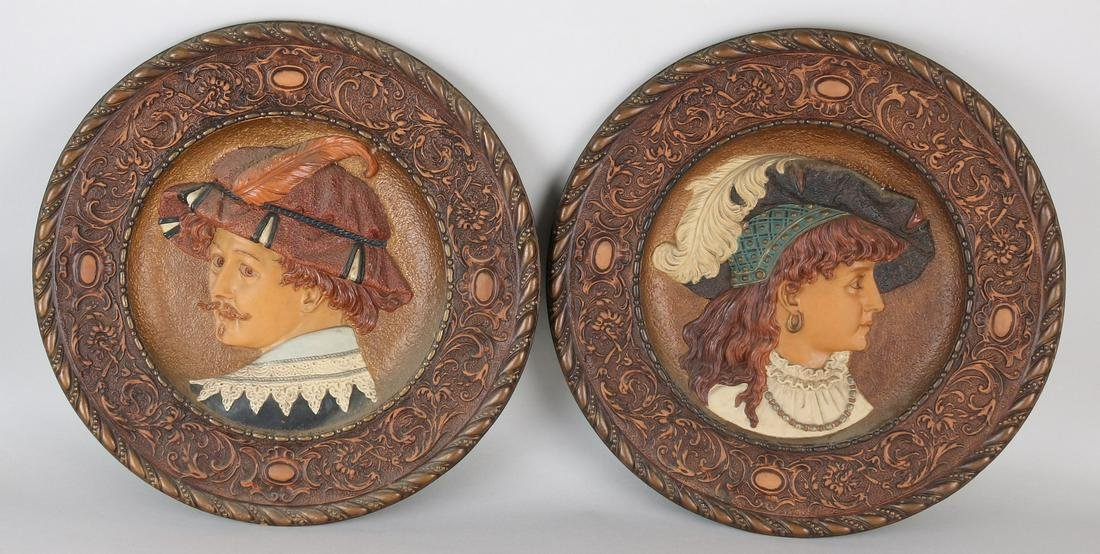 Two large antique German terracotta historicism wall
