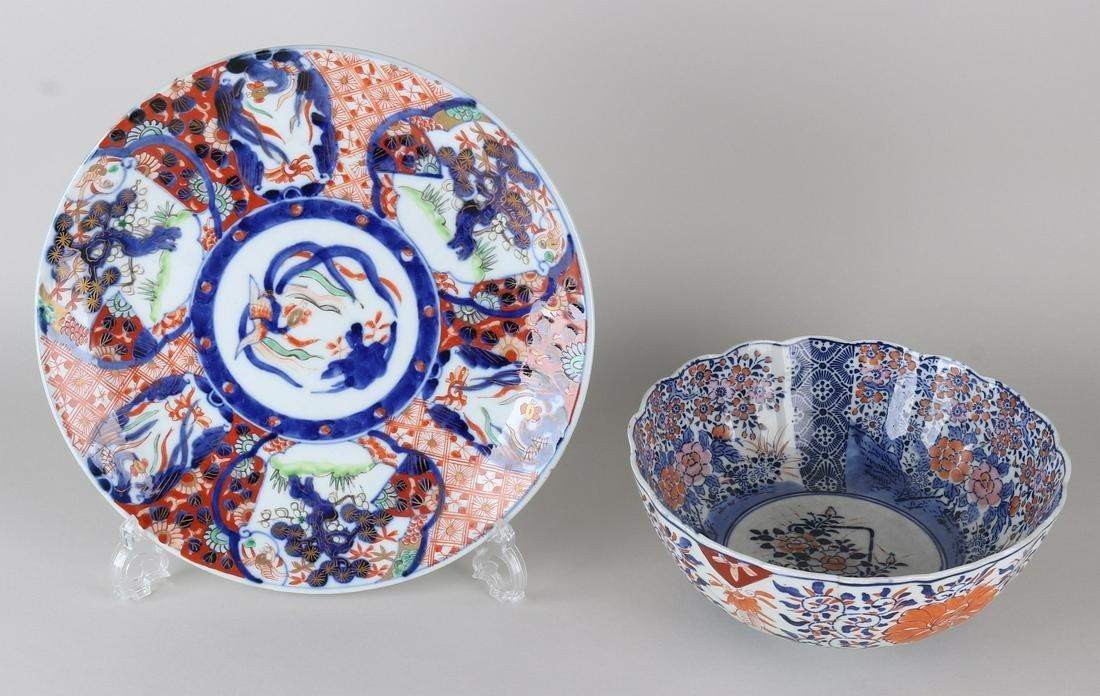 Two times antique Imari. One large decorative dish,