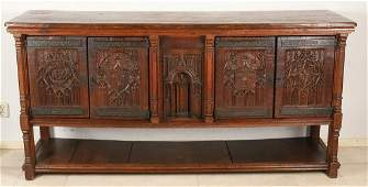 Large oak Neo Gothic sideboard with Gothic arches and