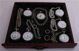antique pocket watches in case equipped with six