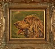 Unclear signed. German School. Portrait dog. Oil paint
