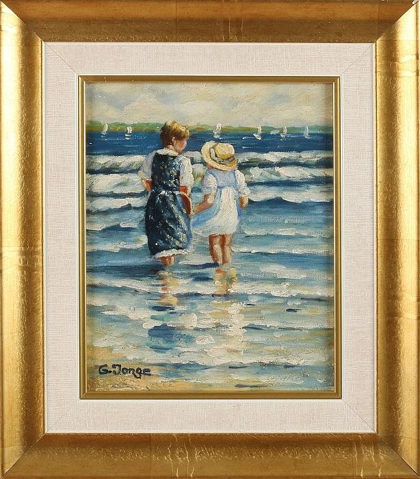 G. Young. 21st century. Two children in the surf. Oil