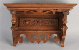 German Gründerzeit oak wall clock console. Circa 1880.