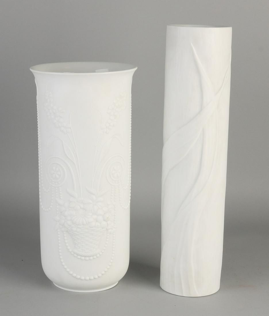 Two German white porcelain vases with floral