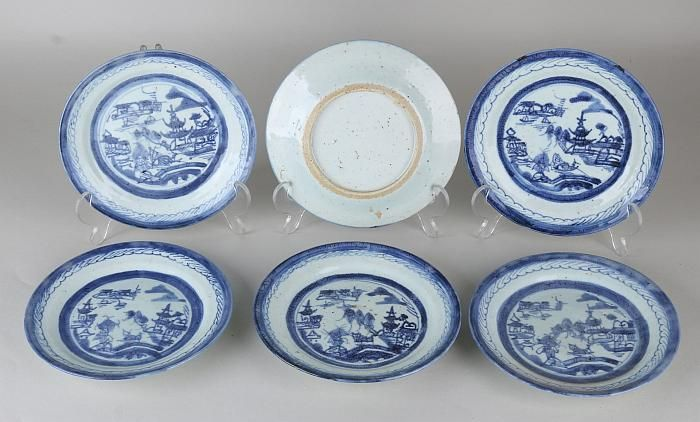 Six old / antique Chinese porcelain plates with
