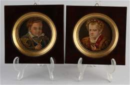 Two small oval paintings 20th century Portrait boy