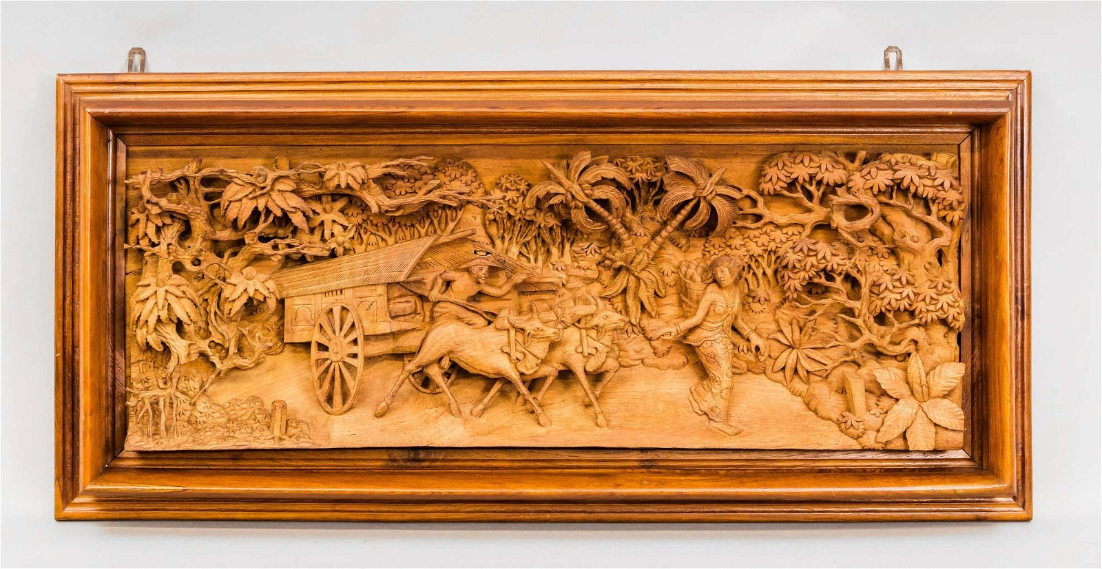 Large Oriental / Indonesian carving with landscape /