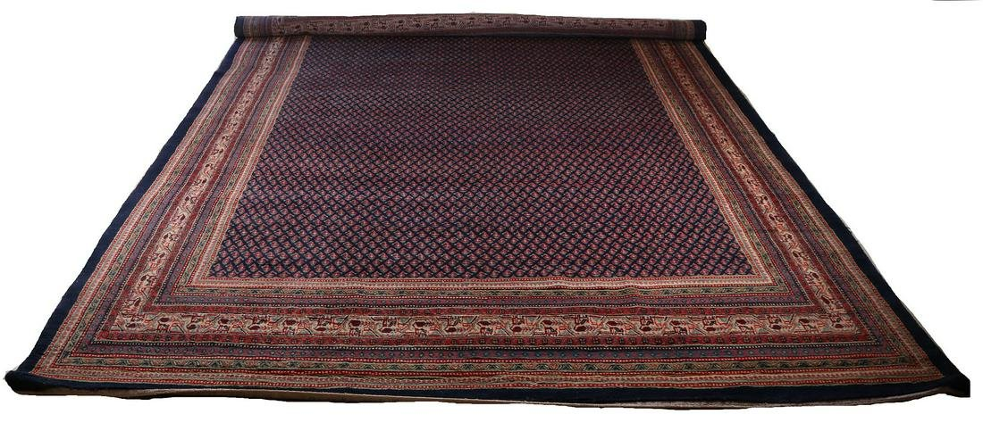 Large hand-knotted Mir Sarouk carpet. Entirely blue