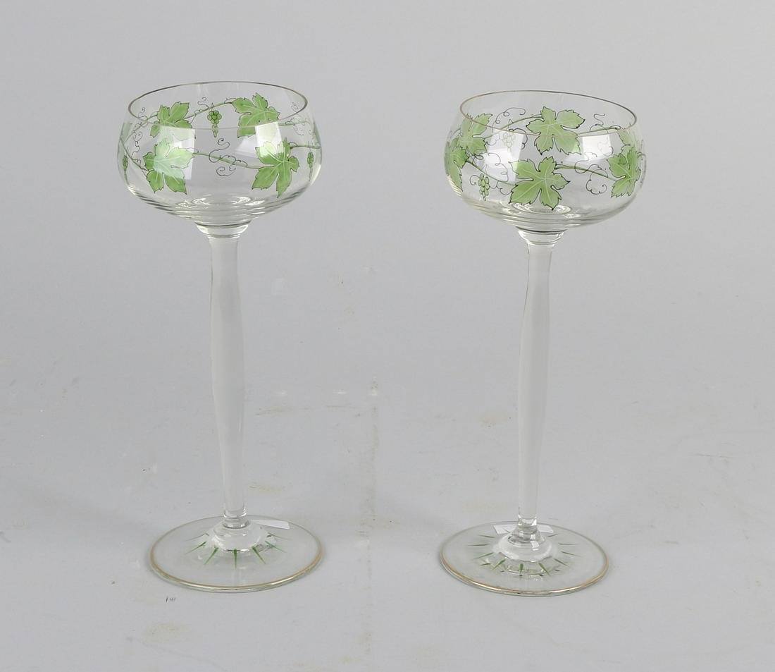 Two German Jugendstil mouth-blown white wine glasses