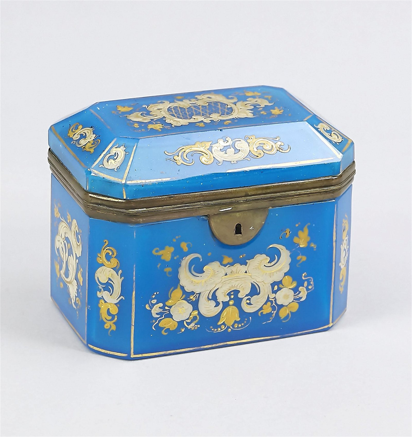 19th century blue glass lidded box with gold colored