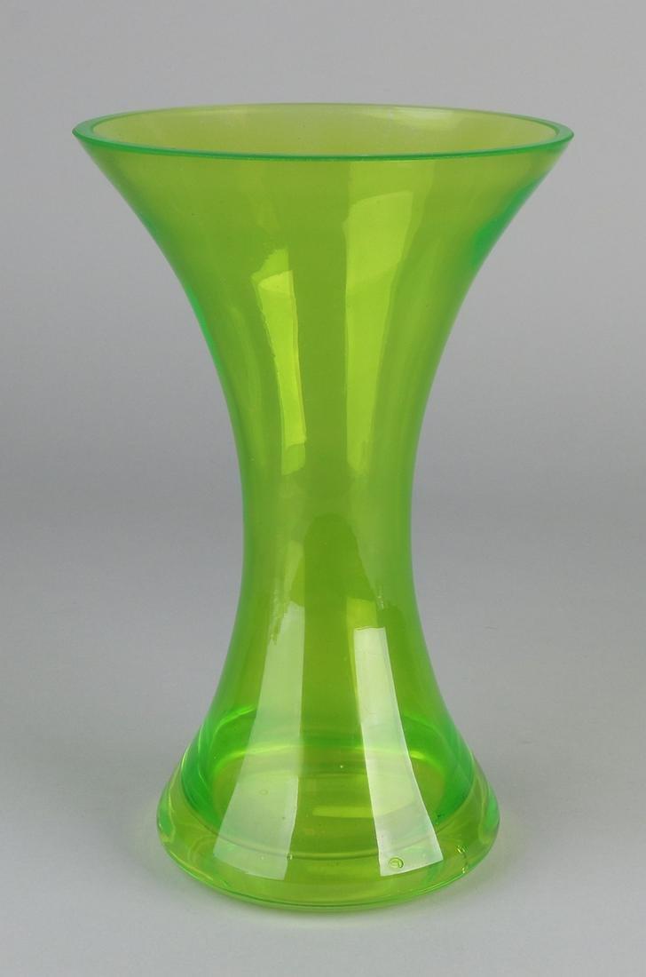 Large old Anna green glass vase. Uranium glass.