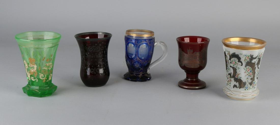 Five various Bohemian crystal glasses colored, ca.