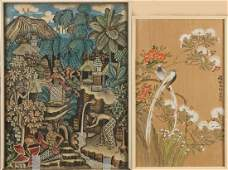 Two Oriental paintings.China + Indonesia.
