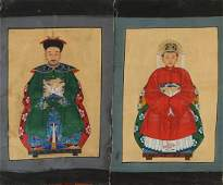 Two antique Chinese anterior portraits painted with