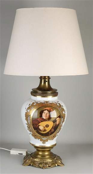 Large French porcelain table lamp with gold decor and