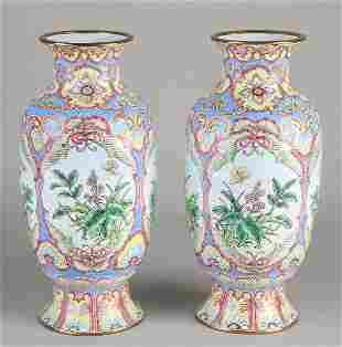 Two old / antique enamelled Chinese vases with floral