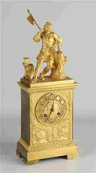 Fire gilded bronze Charles Dix mantel clock with knight