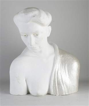 Plaster bust of a lady. Painted with silver. Second