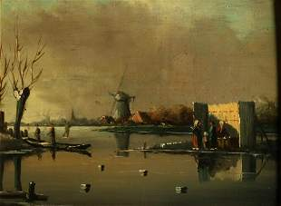 Unclearly signed. Circa 1900. Dutch landscape with