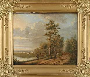 Hester AC Zaalberg. 1836 - 1909. Dutch landscape with a