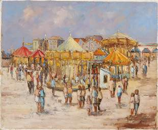 HM Woudstra. Dutch School. Funfair with many figures.
