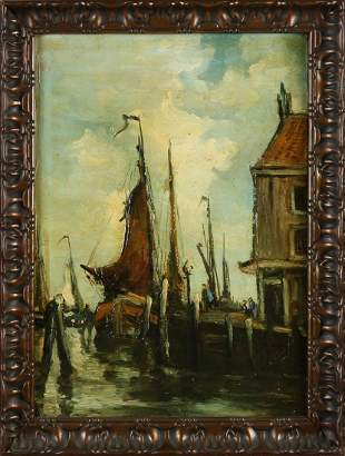 Unsigned. Circa 1920. Dutch harbor with figures. Oil on