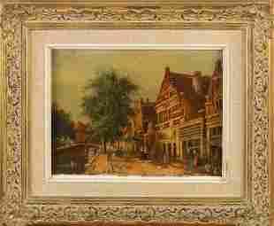 J. van Berghem signed. Circa 1930. Dutch cityscape with
