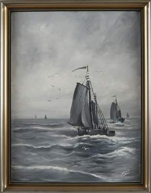 CM Kouw. 20th century. Dutch flat-bottomed boats at