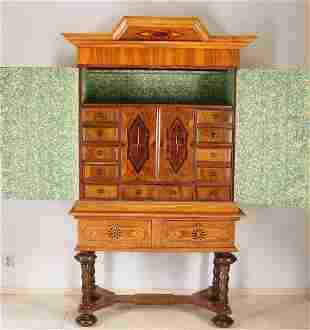 Antique German show cabinet. Baroque. 18th - 19th