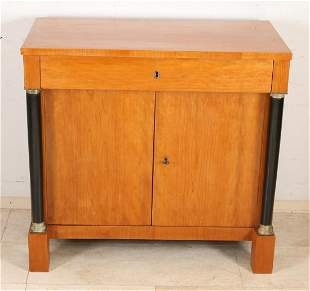 Antique Dutch Empire penant cabinet with full columns.