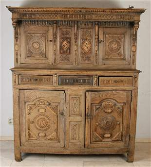 17th century English oak cupboard with carving/floral
