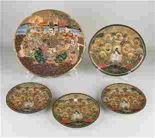 Five antique Japanese Satsuma porcelain plates with