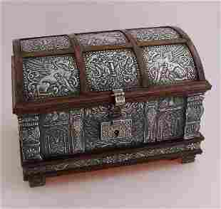 Treasure chest lined with silver