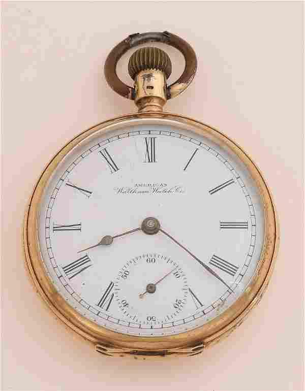 Gold pocket watch under bell jar