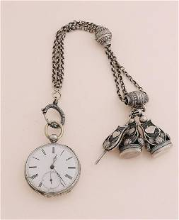 Silver men's watch & chatelaine