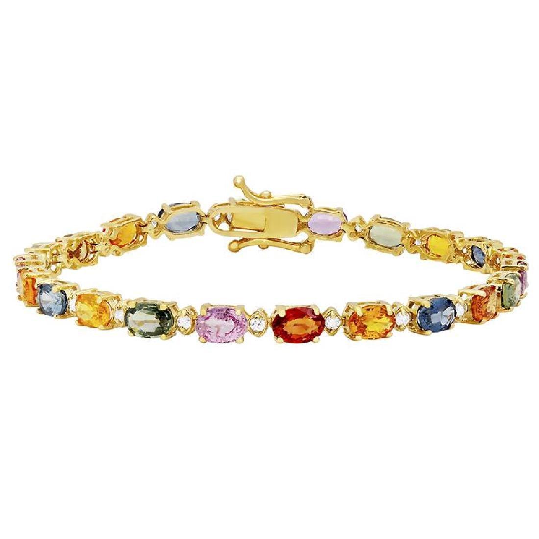 14k Yellow Gold 11.97ct Sapphire 0.57ct Diamond