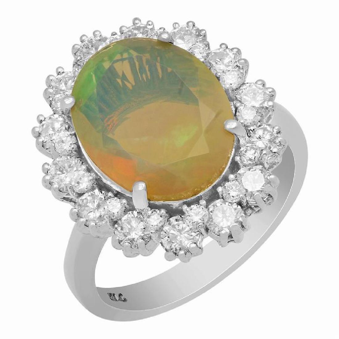 14k White Gold 2.58ct Ethiopian Opal 1.32ct Diamond
