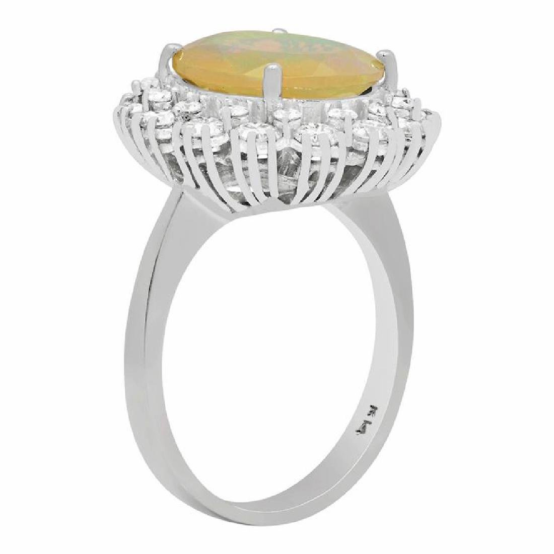 14k White Gold 2.58ct Ethiopian Opal 1.32ct Diamond - 2