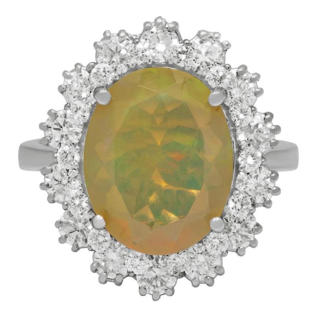 14k White Gold 2.58ct Ethiopian Opal 1.32ct Diamond - 3