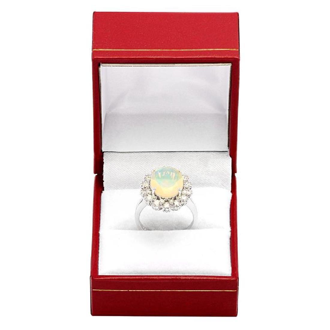 14k White Gold 2.58ct Ethiopian Opal 1.32ct Diamond - 4