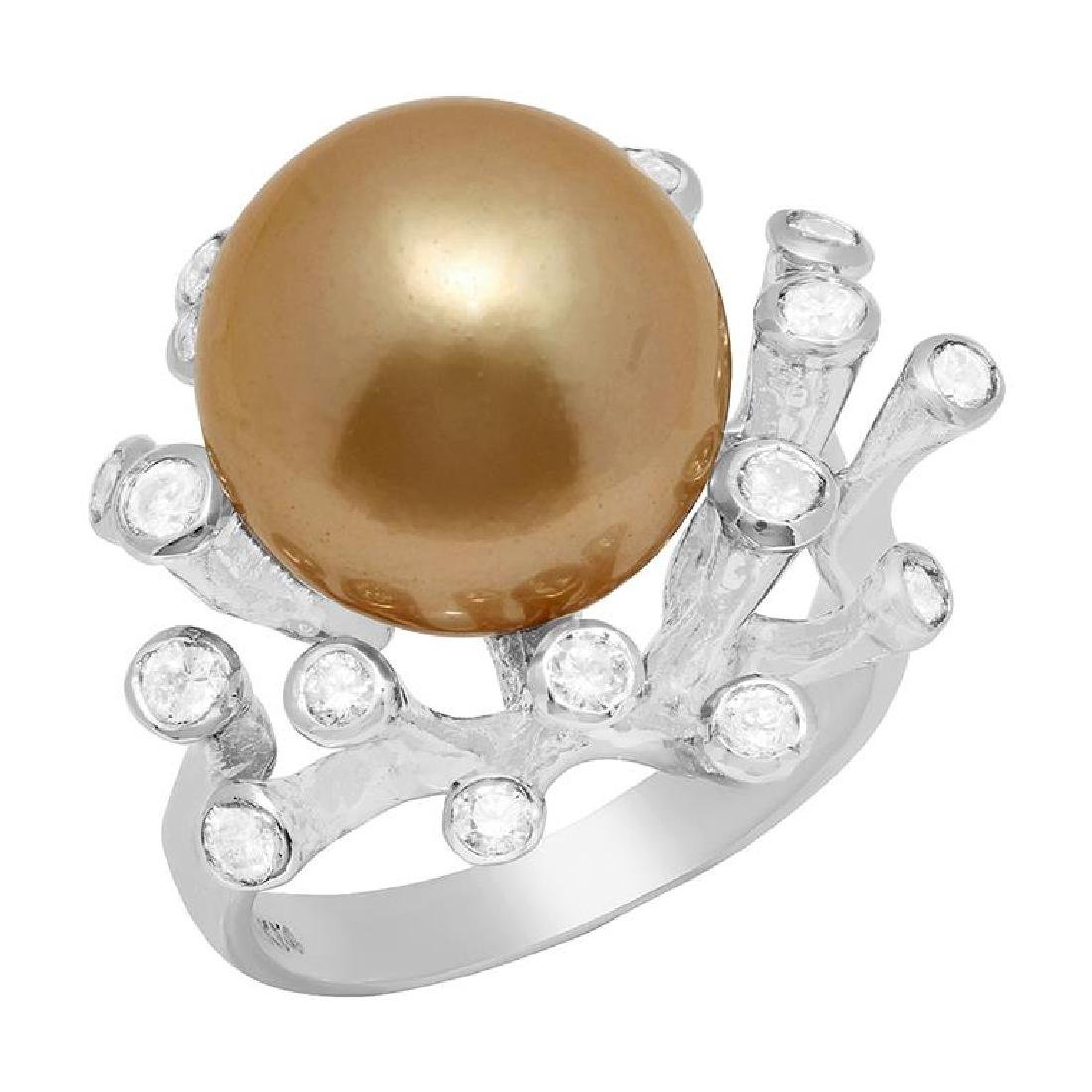 14k White Gold 15mm Pearl 0.41ct Diamond Ring