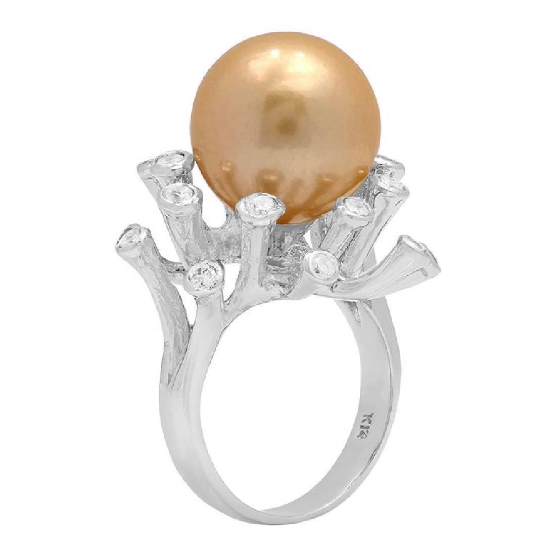 14k White Gold 15mm Pearl 0.41ct Diamond Ring - 2